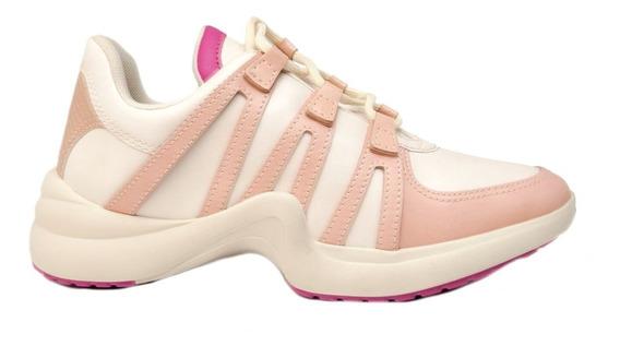 Zapatillas Mujer Cuero Ecológico Nude Pitón Acordonada.