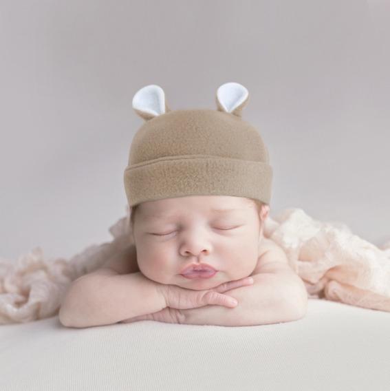 Gorrito Para Bebé De Polar Con Orejitas De 0 A 3 Meses