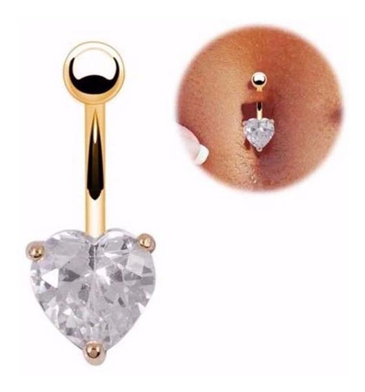 Piercing De Umbigo Folheado A Ouro Formato De Coração Lindo