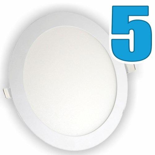 Kit 5 Painel Plafon Luminária Embutir Redondo 18w Bivolt
