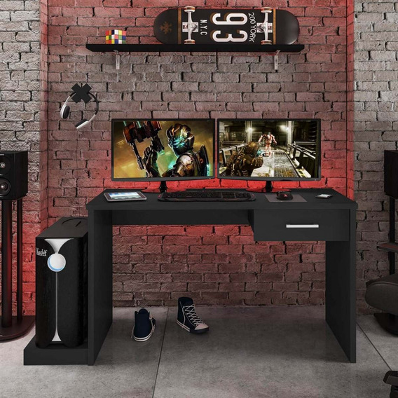 Mesa Gamer 1 Gaveta Drx 9000 Siena Móveis Preto Black Gdwt