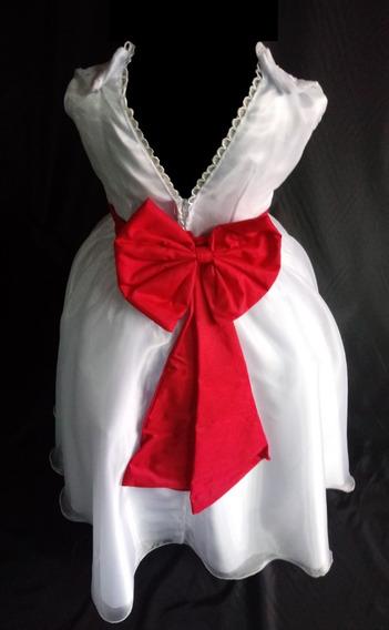 Vestido Dama Cetim Voal-rendado + Saia + Laço - Tam 2 A 8