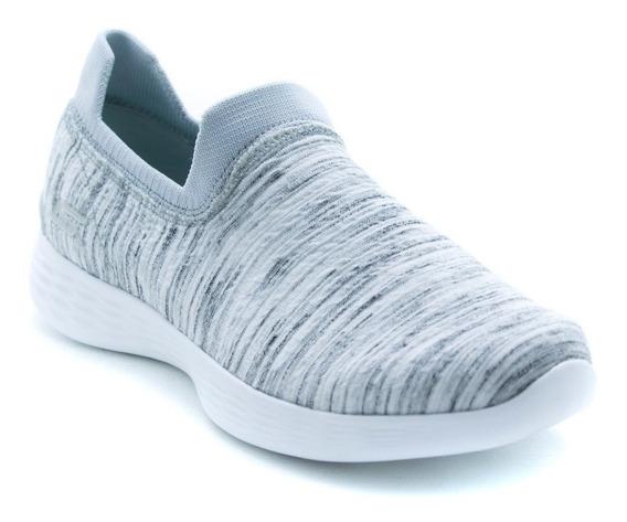 Tenis Skechers Sports Walk 14971 Blanco Gris 100% Originales