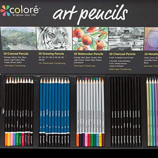 Lápices Colore Arte Pack Premium - 50 Surtido De Lápiz Fijó