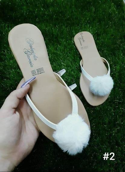 Sandalia Para Dama Con Pompones