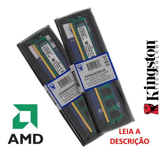 Kit 4gb 2x Memória Kingston Ddr2 2gb 800mhz Nova Lacrada Amd