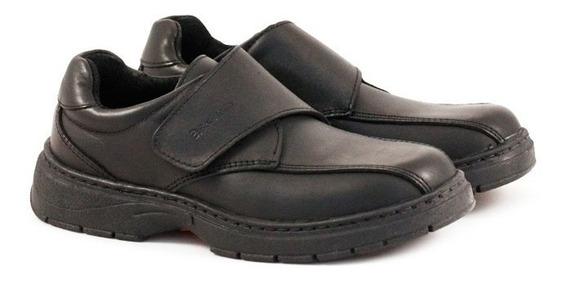 Zapatos Escolares De Cuero Negro Con Abrojo Del 27 Al 33