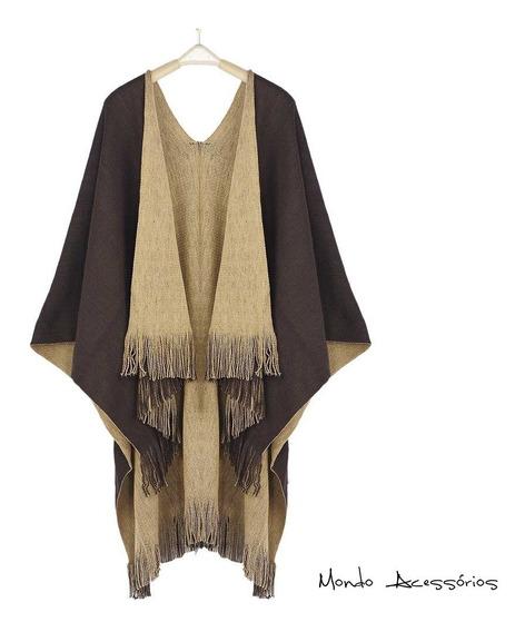 Kimono Poncho Aberto Lã Xale Reversível Unissex Frete Grátis