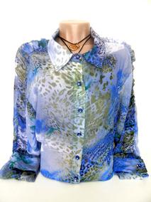 Blusa De Prenda Gaucha Colorida Azul Com Branca