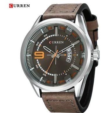 Relógio Curren C/ Pulseira De Couro E Calendário Funcional