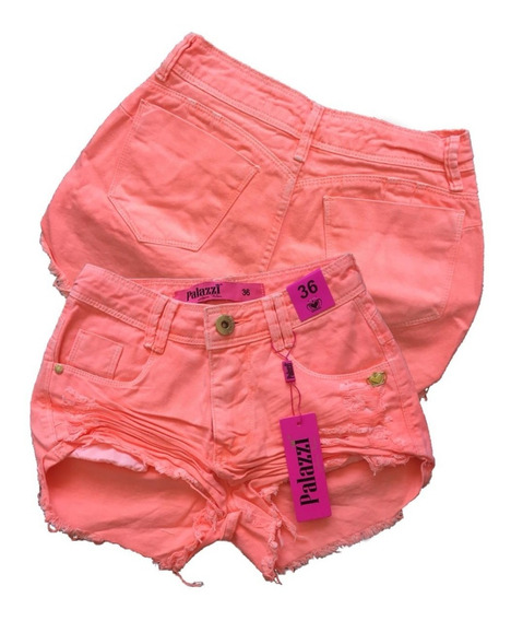 Shorts Jeans Feminino Cintura Alta Com Elastano Original