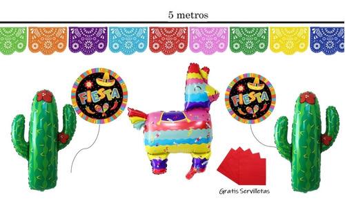 Kit De Fiesta Mexicana Globos Guirnaldas Piñata Servilletas