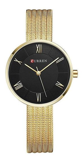 Relógio Dourado Feminino Original Curren 9020 - Promoção