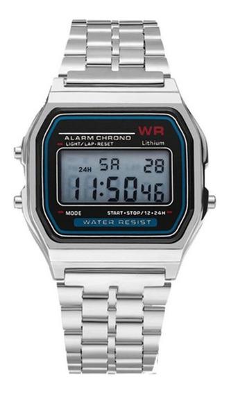 Relógio Retro Prata Digital Pulseira De Aço Cronometro Calendário Alarme Unissex