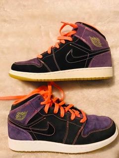 Jordan Retro 1 Phat Black Purple #24.5 Envío Gratis