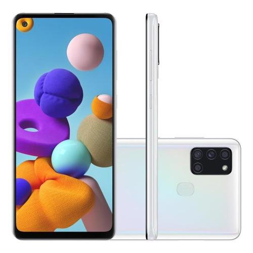 Celular Samsung Galaxy A21s Branco 64gb Cam 48mp 8mp 2mp 2mp