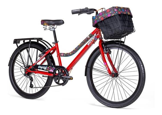 Bicicleta Mercurio Capressi Urbana Rodada 24 Con Canastilla