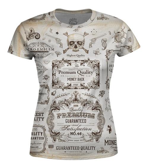 Camiseta Baby Look Feminina Caligrafia Old School Totalprint