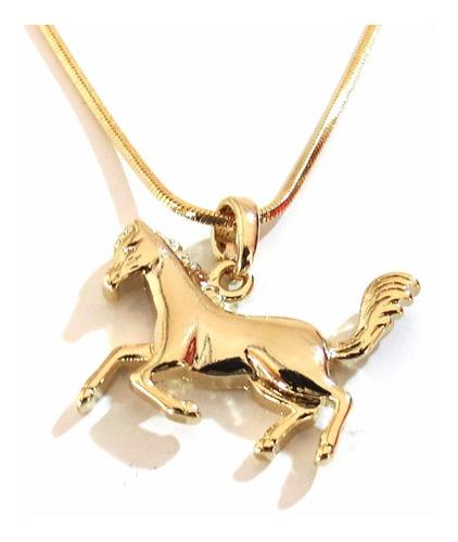 Colar Gargantilha Country Cavalo Folheado A Ouro 18k C4