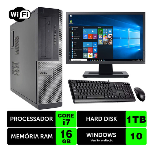 Computador Usado Dell Optiplex Int I7 2g 16gb 1tb Mon19w