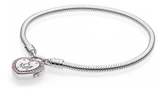 Pandora Moments Smooth Silver Bracelet, Lock Your Promise