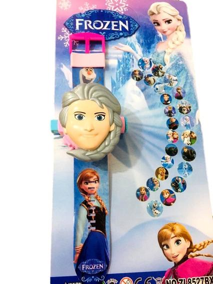Relógio Infantil Frozen Elsa Projetor De Imagem 24 Grids