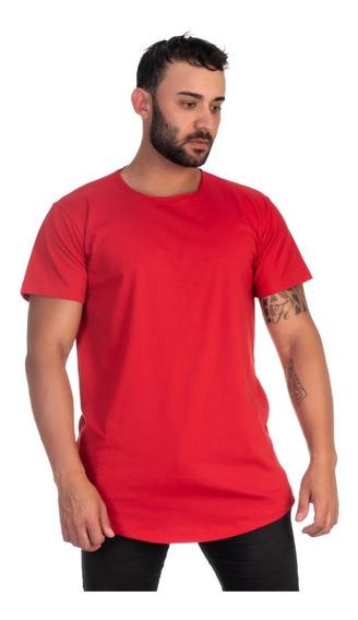 Camiseta Vermelha Masculina Longline Oversize Envio Imediato