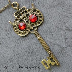 Maxi Colar Feminino Chave Coruja Vintage Dourado Com Cristal