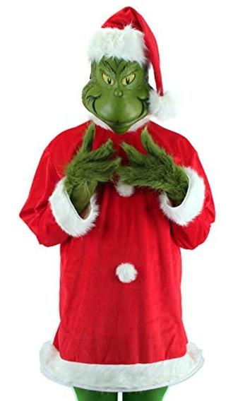 Elope Dr. Seuss Santa Grinch Traje Deluxe Con Máscara