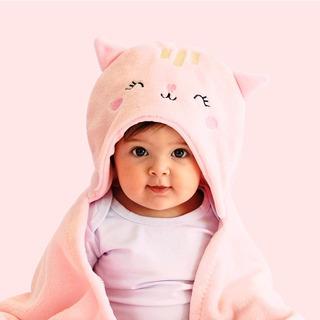 Cobertor Manta Microfibra Mami Bichuus Com Capuz Bebê Rosa