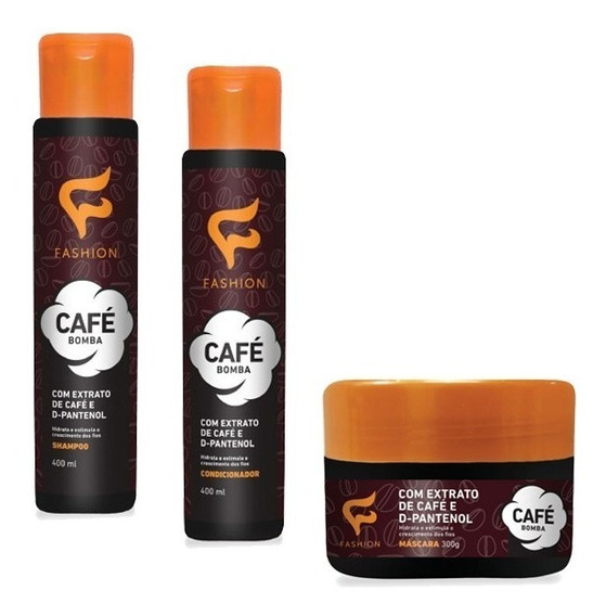 Kit De Tratamento Capilar Café Bomba Fashion 3 Itens
