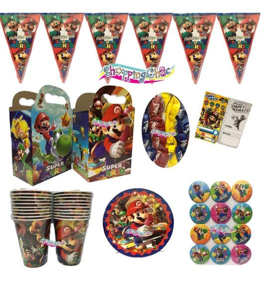 Mario Bros Fiesta Pkt 20 Niños Cumple Platos Globos