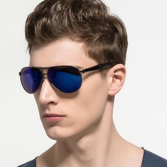 Óculos De Sol Aviador Polarizado Uv 400 Hdcrafter - Azul §
