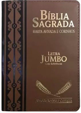 Bíblia Sagrada Letra Jumbo Harpa Avivada E Corinhos Marrom