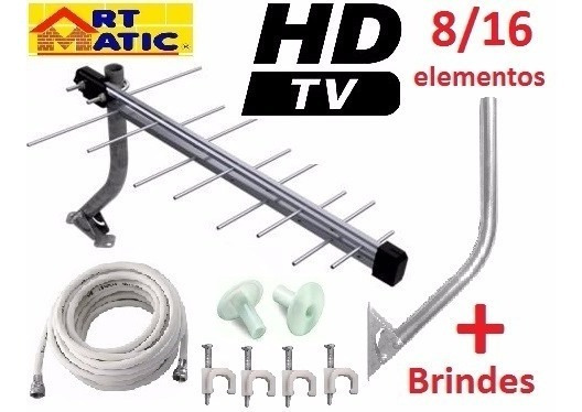 Kit Antena Ext. Tv Hd Digital 8 Dbi+8m Cabo Conector Suporte