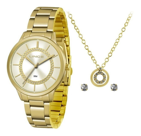 Kit Relógio Fem Lince Puls Aço Inox 50m Lrgj077l-kv30c1kx