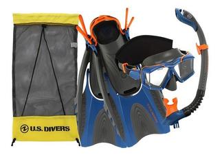 Set De Snorkel Buceo Visor Cristal Aletas Us Divers Adulto