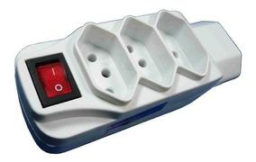Adaptador 2 Polos + Terra Com Interruptor E 4 Tomadas Branco