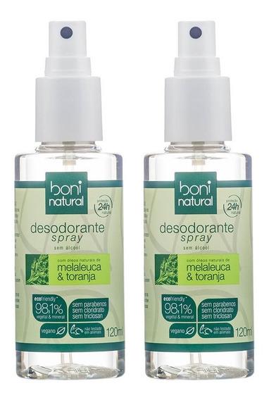 Kit Com 2 Desodorantes Spray Natural Melaleuca E Toranja Boni Natural
