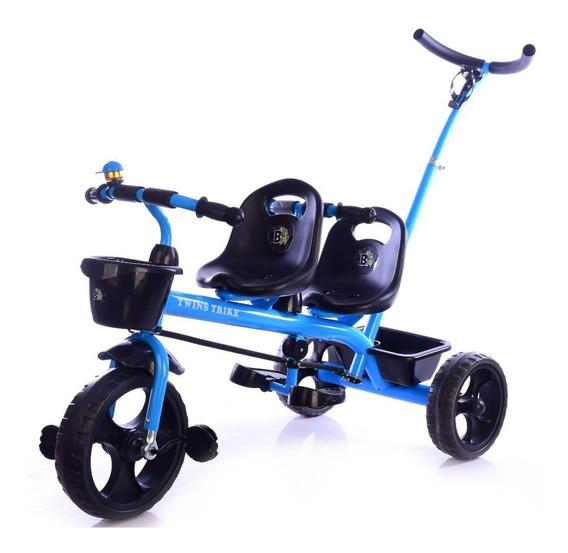 Triciclo Mellizos Doble Asiento Con Canasta Timbre H 6 Años