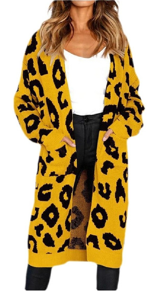 D Impressão Cardigã Tricotado Casaco Frente Suéter Aberto