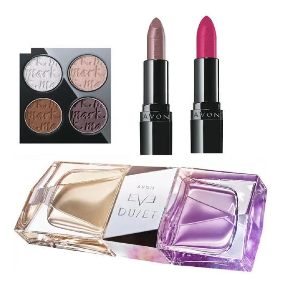 Combo Perfume Feminino Avon Eve Duet + Paleta Matte + Batons