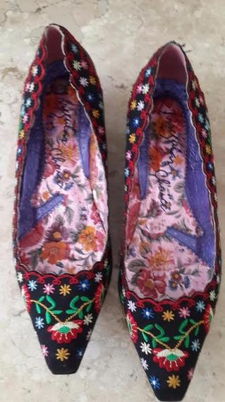 Scarpin Em Couro Azul-marinho, C/ Detalhes Chineses - Núm.38