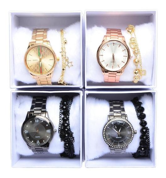 Kit Luxo Lote 25 Unidades Relógios Femininos + Caixa Branca