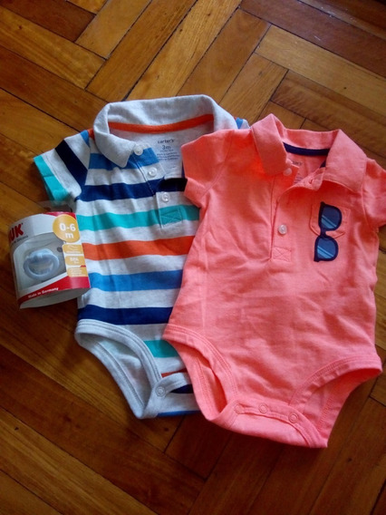 Bodys Carters Y Chupete Nuk 0-3 Meses