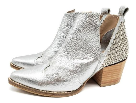 Botineta Bota Corta Base Goma Cuero Mujer Zapato 522jo