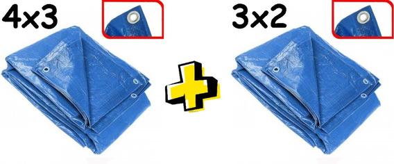 Lona Plastica Carreteiro 3x2 + 4x3 Com Ilhoes Azul Impermeav