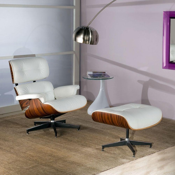 Poltrona Charles Eames Com Puff Couro Legítimo