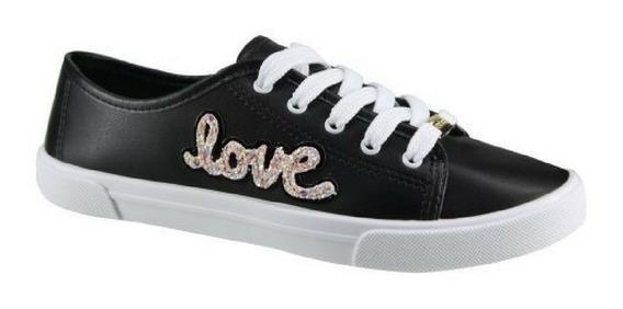 Tênis Love Moleca Feminino   Branco   Preto   Azul   5296