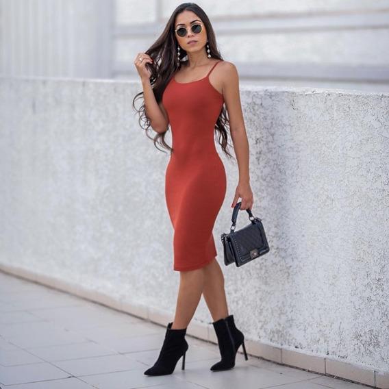 Vestido Alça Midi Mid Canelado Justo Tubinho Moda Instagram